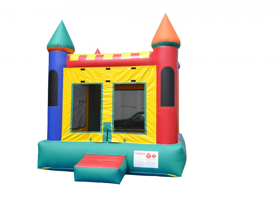 front view of inflatable moonwalk castle rental