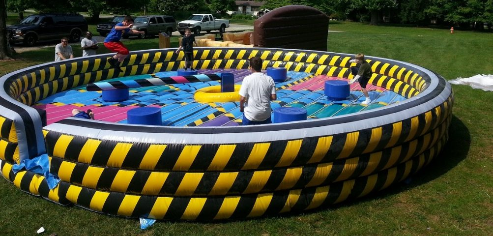 Kids Playing on Eliminator Inflatable Action Game