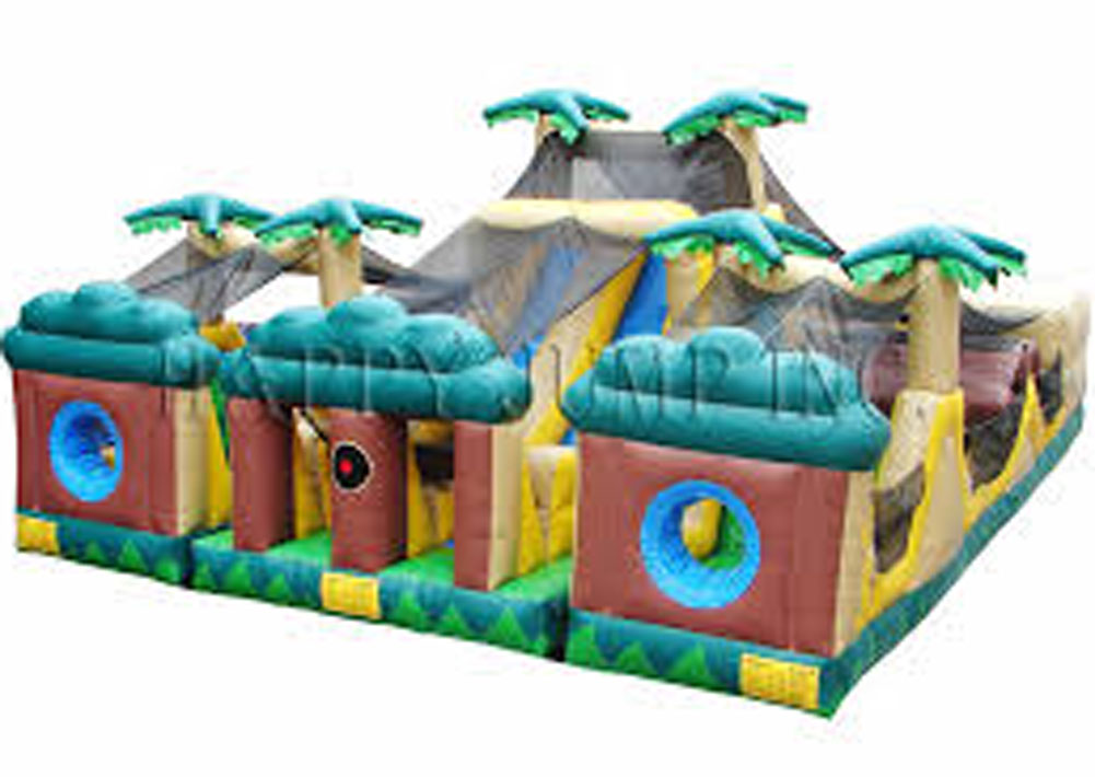 Tropical 3 Piece Obstacle Course Inflatable Rental